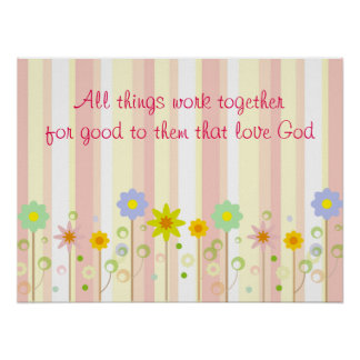 Romans 8:28 Pink Stripe and Flower Christian Quote Poster