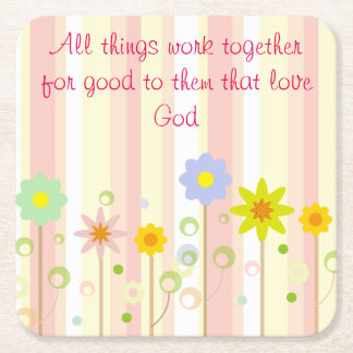 Romans 8:28 Pink Stripe and Flower Christian Quote Square Paper Coaster