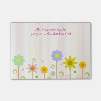 Romans 8:28 Pink Stripe and Flower Christian Quote Post-it® Notes