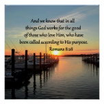 ROMANS 8:28 SUNSET PHOTO DESIGN POSTER