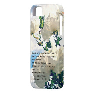 Romans 8:28 White Flowers iPhone cover