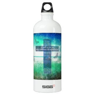 Romans 8:31 Inspirational Bible Verse Aluminum Water Bottle