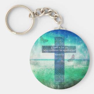 Romans 8:31 Inspirational Bible Verse Keychain