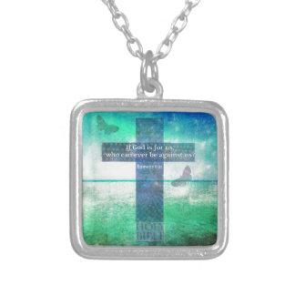 Romans 8:31 Inspirational Bible Verse Square Pendant Necklace