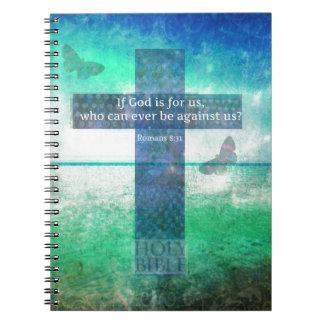 Romans 8:31 Inspirational Bible Verse Spiral Note Book