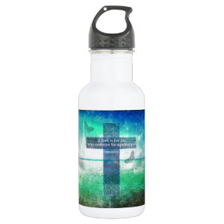 Romans 8:31 Inspirational Bible Verse 18oz Water Bottle