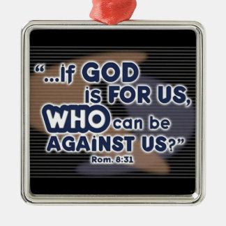 Romans 8:31 metal ornament