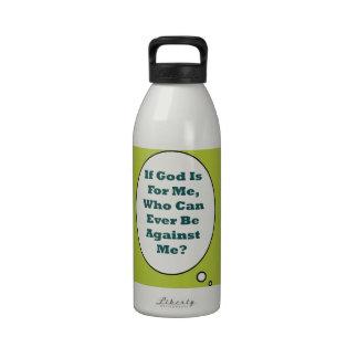 Romans 8:31 On Acid Green Background. Motivational Reusable Water Bottle