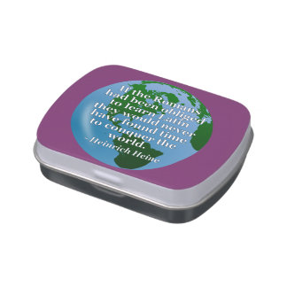 Romans learn Latin Quote. Globe Jelly Belly Tin