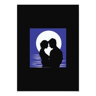 ROMANTIC 001 LOVE MOONLIGHT OCEAN PEOPLE VECTOR 5X7 PAPER INVITATION CARD