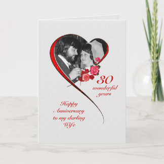 Romantic 30th Wedding Anniversary for Wife Card