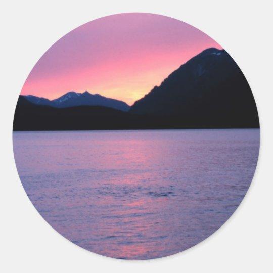 Romantic Alaskan Sunset Classic Round Sticker