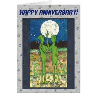 Romantic Aliens Anniversary Card Personalize It!