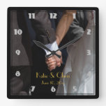 Romantic and Elegant Wedding Couple Holding Hands Wall Clocks