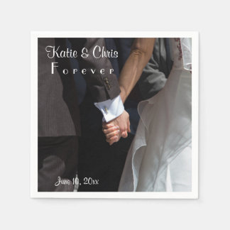 Romantic and Elegant Wedding Couple Holding Hands Disposable Napkin