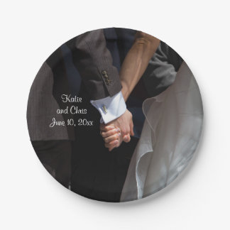 Romantic and Elegant Wedding Couple Holding Hands Paper Plate