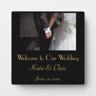 Romantic and Elegant Wedding Couple Holding Hands Plaque