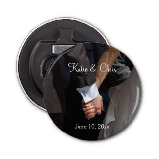 Romantic and Elegant Wedding Couple Holding Hands Button Bottle Opener