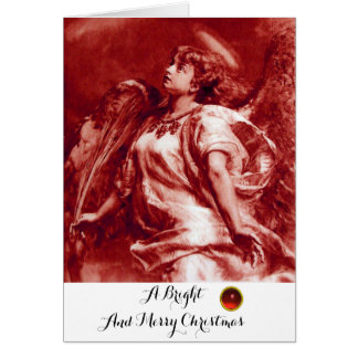 ROMANTIC ANGEL,FEATHER,ANTIQUE RED WHITE Christmas Card