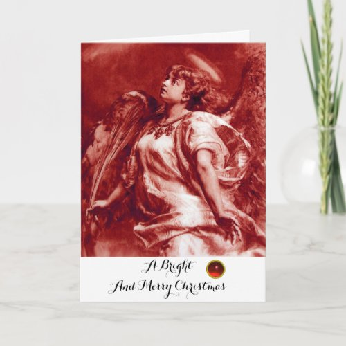 ROMANTIC ANGELFEATHERANTIQUE RED WHITE Christmas Holiday Card