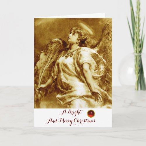 ROMANTIC ANGELFEATHERBROWN SEPIA WHITE Christmas Holiday Card