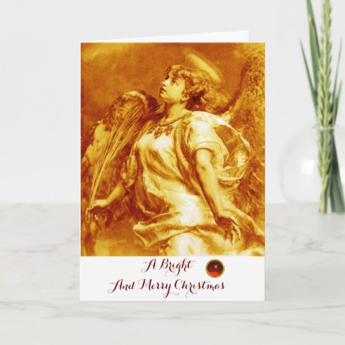 ROMANTIC ANGELFEATHER GOLD YELLOW WHITE Christmas Holiday Card