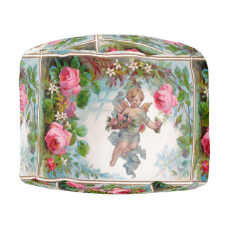 ROMANTIC ANGEL GATHERING PINK ROSES AND FLOWERS POUF