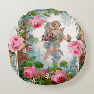 ROMANTIC ANGEL GATHERING PINK ROSES AND FLOWERS ROUND PILLOW