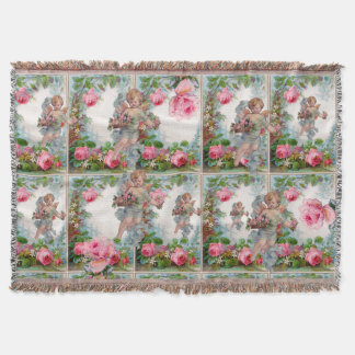 ROMANTIC ANGEL GATHERING PINK ROSES AND FLOWERS THROW BLANKET