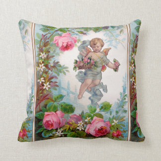 ROMANTIC ANGEL GATHERING PINK ROSES AND FLOWERS THROW PILLOW