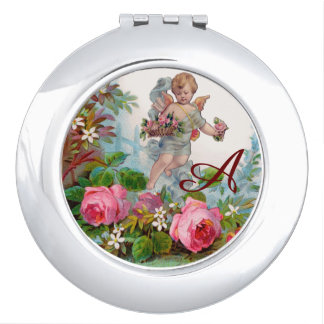 ROMANTIC ANGEL GATHERING PINK ROSES AND FLOWERS VANITY MIRROR