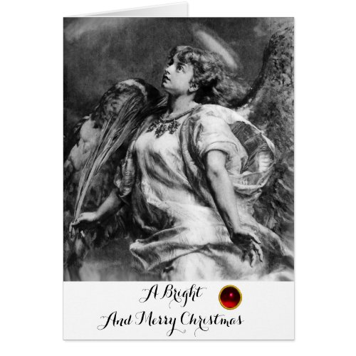 ROMANTIC ANGEL WITH FEATHER BLACK WHITE Christmas