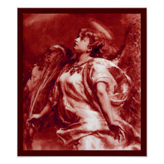 ROMANTIC ANGEL WITH FEATHER IN ANTIQUE RED WHITE POSTER