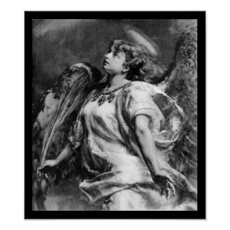 ROMANTIC ANGEL WITH FEATHER IN BLACK AND  WHITE POSTER