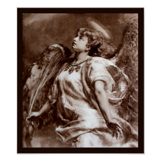 ROMANTIC ANGEL WITH FEATHER IN BROWN SEPIA,WHITE POSTER