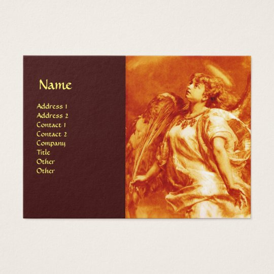 ROMANTIC ANGEL WITH FEATHER IN GOLD ORANGE,BROWN BUSINESS CARD