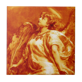 ROMANTIC ANGEL WITH FEATHER IN  GOLD ORANGE ,BROWN TILE