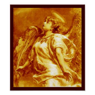 ROMANTIC ANGEL WITH FEATHER IN GOLD YELLOW WHITE POSTER