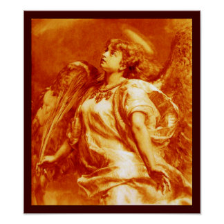 ROMANTIC ANGEL WITH FEATHER IN ORANGE YELLOW WHITE POSTER