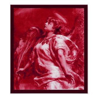 ROMANTIC ANGEL WITH FEATHER IN PINK FUCHSIA WHITE POSTER