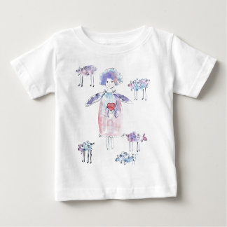 Romantic Angel with Lambs Baby T-Shirt