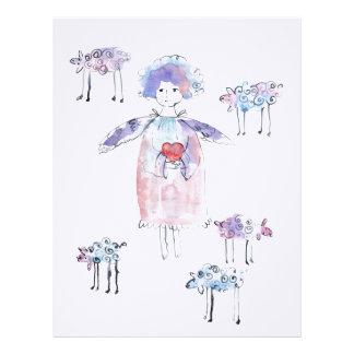 Romantic Angel with Lambs Letterhead