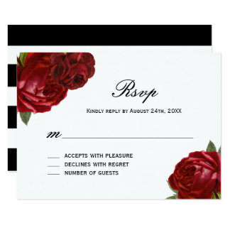 Romantic Antique Red Roses with Stripes RSVP Cards