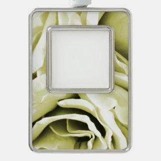Romantic antique white velvet roses floral photo ornament