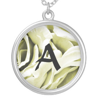 Romantic antique white velvet roses floral photo silver plated necklace