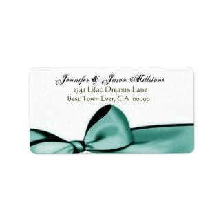 Romantic Aqua Blue Bow Wedding Label