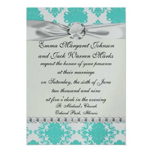 romantic aqua blue on white elegant damask personalized announcement