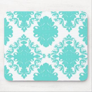romantic aqua blue on white elegant damask mouse pad