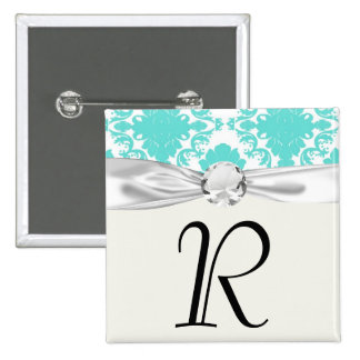 romantic aqua blue white damask design pinback buttons