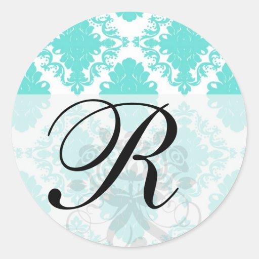 romantic aqua blue white damask design round sticker